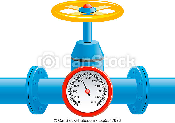 Gas pipe valve and pressure meter - csp5547878