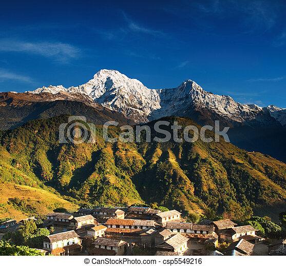 Himalayan village, Nepal - csp5549216