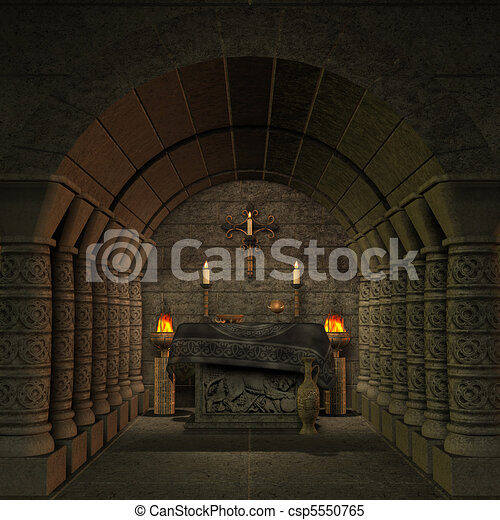 archaic altar or sanctum in a fantasy setting. 3D rendering of a fantasy theme. ideal for background usage. - csp5550765