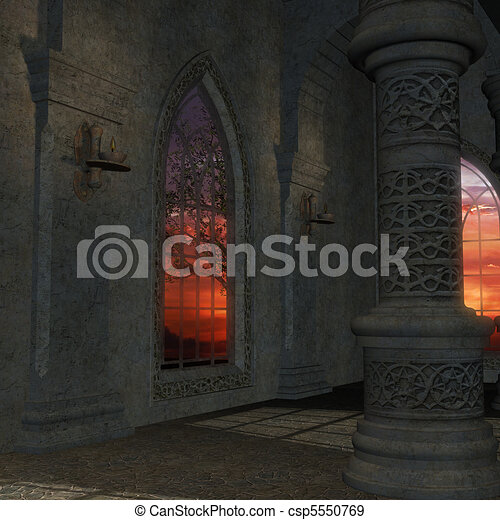 magic window in a fantasy setting. 3D rendering of a fantasy theme for background usage. - csp5550769