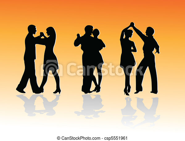 dance couples silhouettes - csp5551961