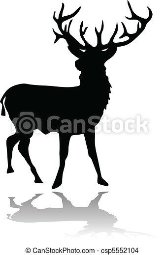 deer silhouette with shadow  - csp5552104