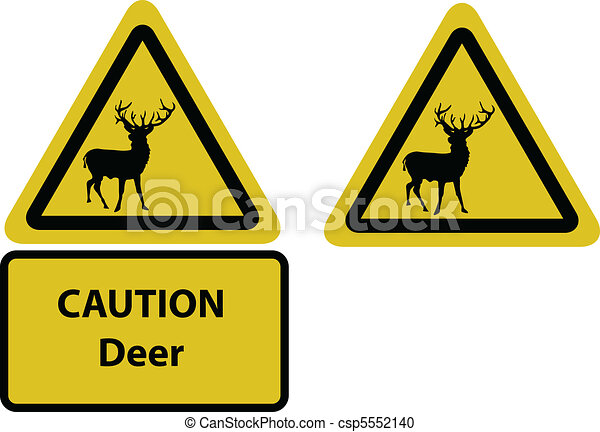 caution deer yellow sign - csp5552140