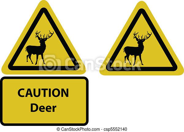 caution deer yellow sign - csp5552140