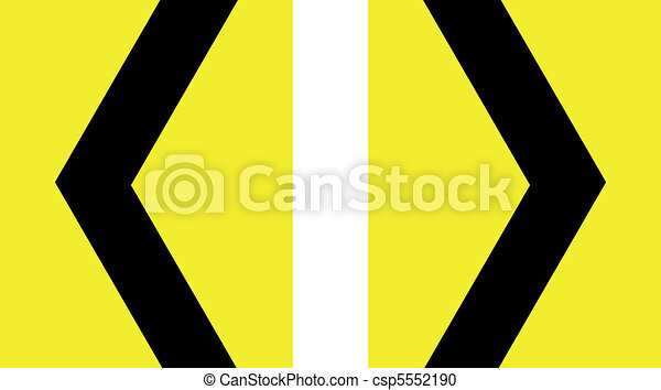 sharp curve chevron yellow sign - csp5552190