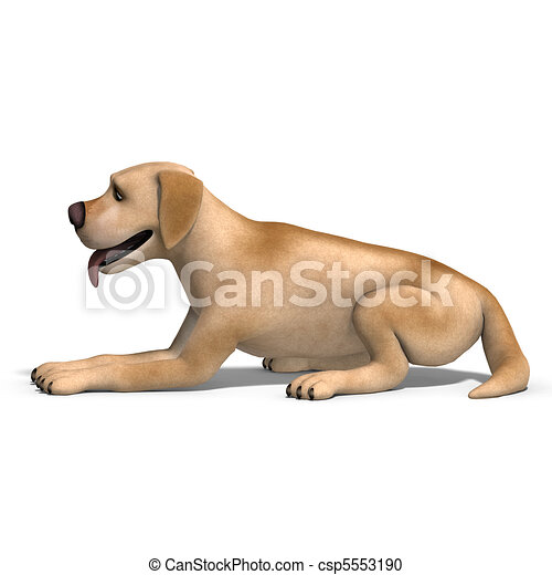 very funny cartoon dog is a little bit nuts. 3D rendering and shadow over white - csp5553190