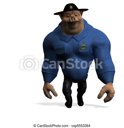 toon animal big pig as a policeman. 3D rendering and shadow over white - csp5553364