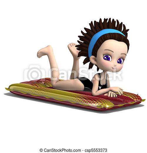 cute cartoon girl laying on an inflatable bed. 3D rendering and shadow over white - csp5553373