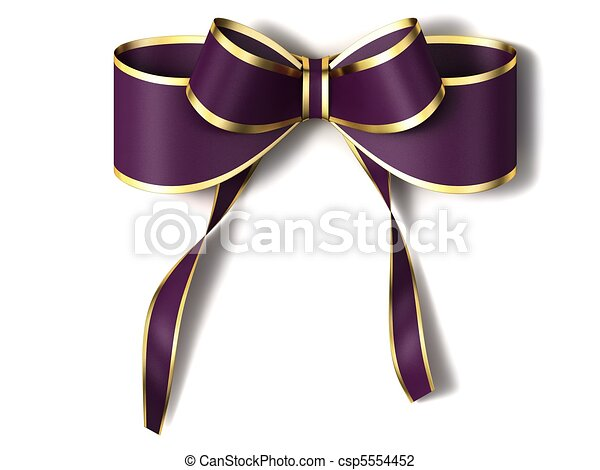 Purple ribbon with gold edging. - csp5554452
