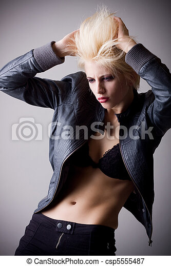 emotive attractive punk blonde girl - csp5555487