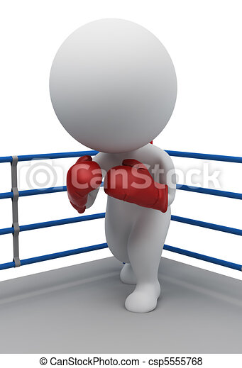 3d small people - boxer on a ring - csp5555768