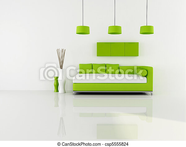 green and white living room - csp5555824