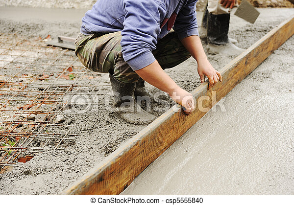 Working with stucco and cement outdoor - csp5555840