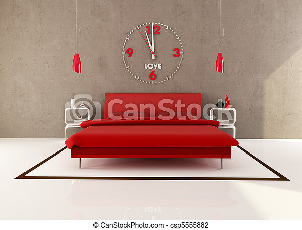 red and brown bedroom - csp5555882
