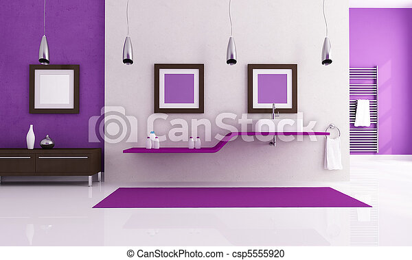 white and purple contemporary bathroom - csp5555920