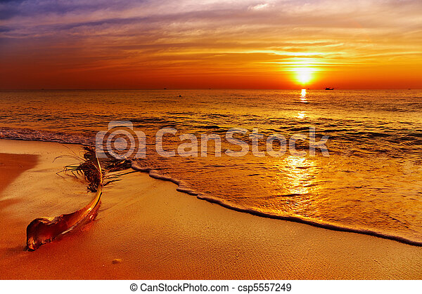 Golden sunset, Chang island, Thailand - csp5557249