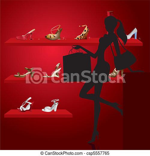 beautiful woman in shoe shop  - csp5557765