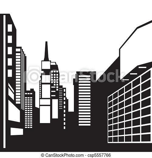 New York black and white image - csp5557766