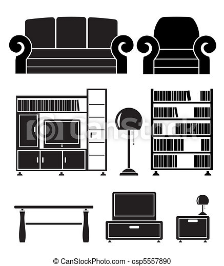 Vector Clipart Of Living Room Objects Furniture And