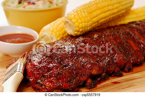 BBQ Ribs with fresh corn - csp5557919
