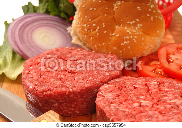 Ingredients for a hamburger - csp5557954