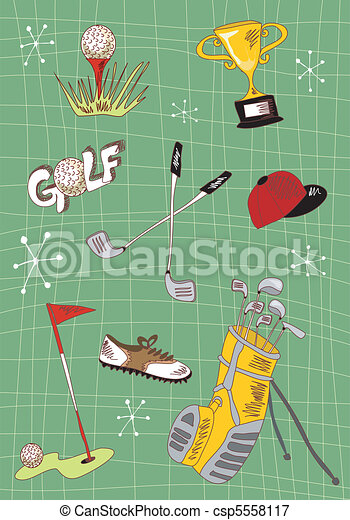 Cartoon golf icons set - csp5558117