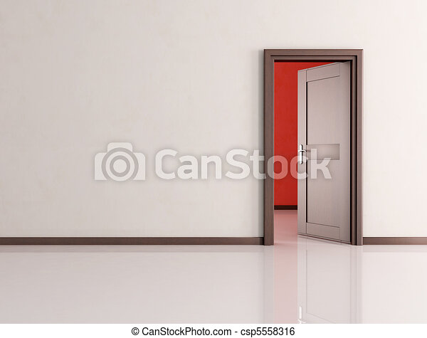 open door in a empty room - csp5558316