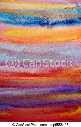 Watercolor bright hand painted art background for scrapbooking design, created by me - csp5558428