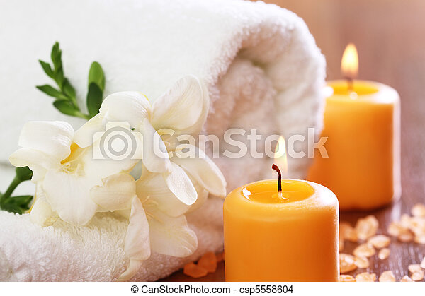 Spa setting with freesia - csp5558604