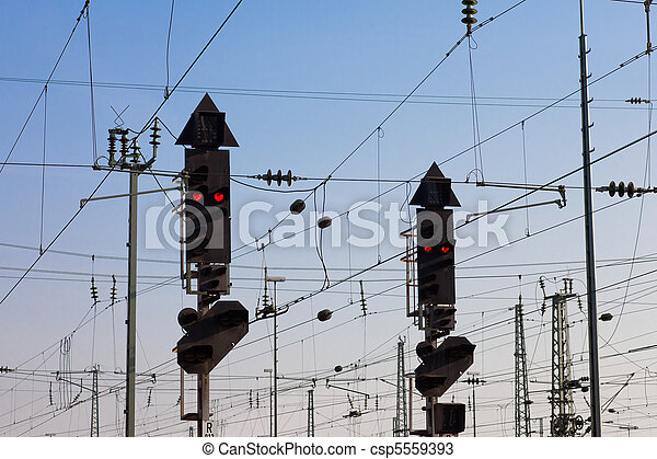 Railway Signal and Overhead Wiring - csp5559393