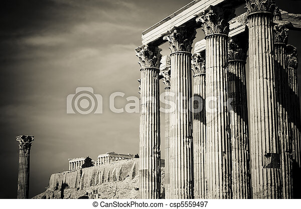 Temple of Olympian Zeus and Acropolis, Athens - csp5559497