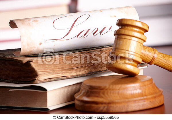 Judges gavel with very old books - csp5559565