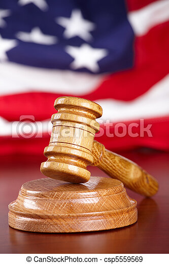 Judges gavel with flag - csp5559569