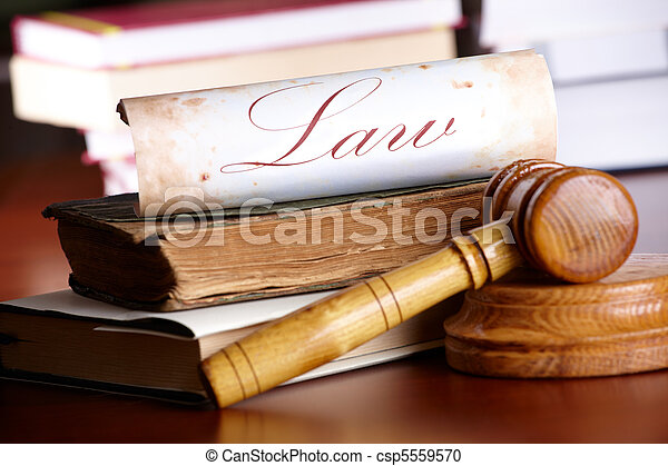 Judges gavel with very old books - csp5559570