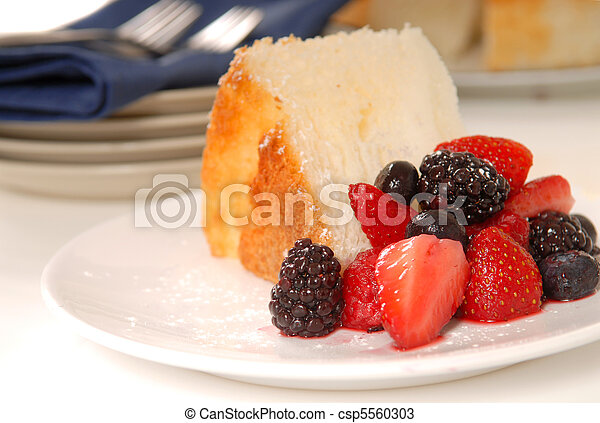 Slice of Angel Food Cake with fresh fruit - csp5560303