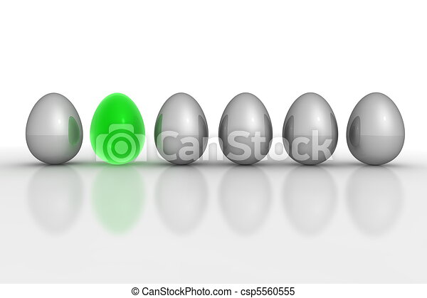 Six Metallic Eggs in a Line - Grey and Green Translucent - csp5560555