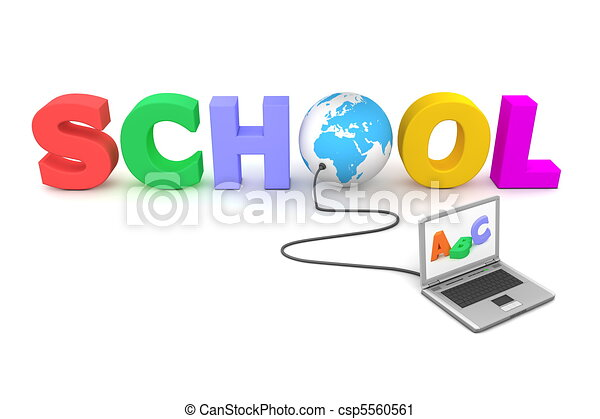 Wired to Colourful School - Blue Globe - csp5560561