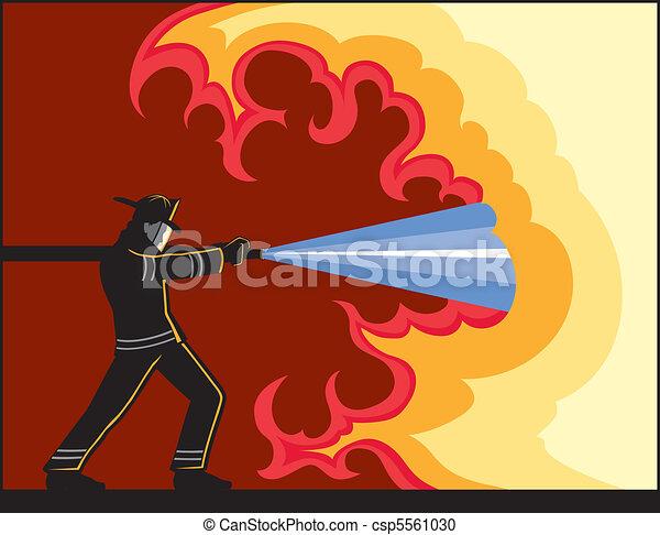 Fireman Fighting Fire - csp5561030