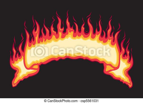 Flaming Fire Banner - csp5561031