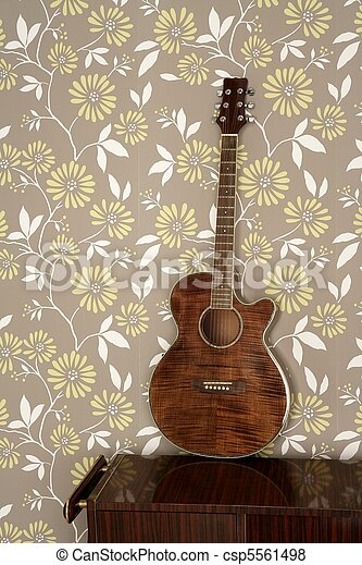 acoustic guitar retro on vintage 60s wallpaper - csp5561498