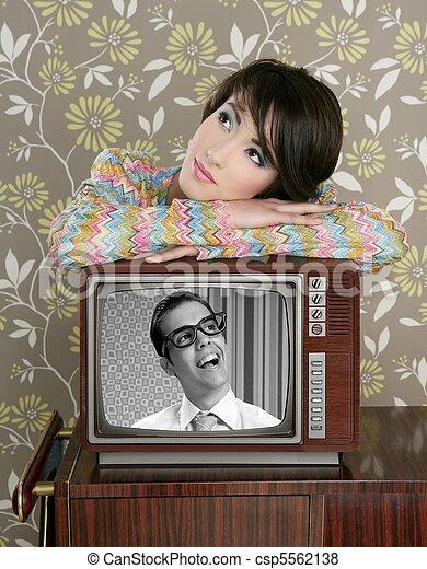 retro woman in love with tv nerd hero - csp5562138