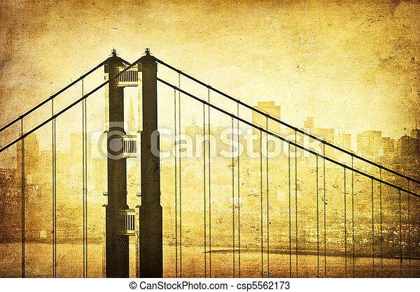 Grunge image of Golden Gate Bridge, San Francisco, California - csp5562173