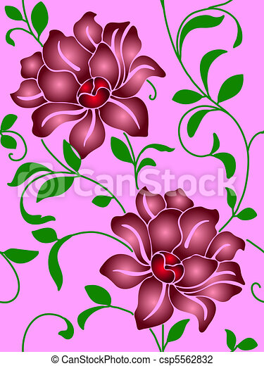 Seamless wallpaper  a seam with flower and leaves  - csp5562832