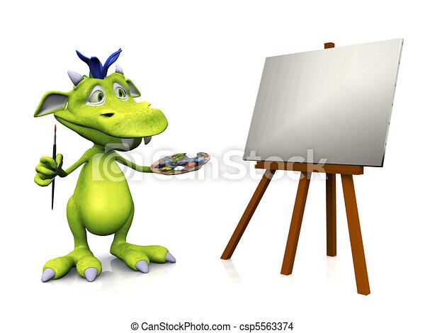 Cute cartoon monster painting. - csp5563374