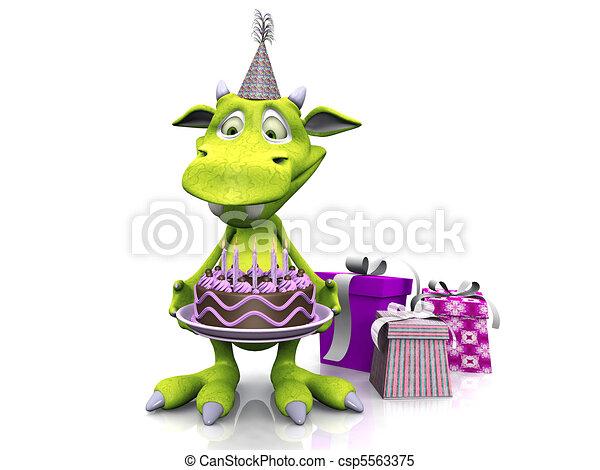Cute cartoon monster holding birthday cake. - csp5563375
