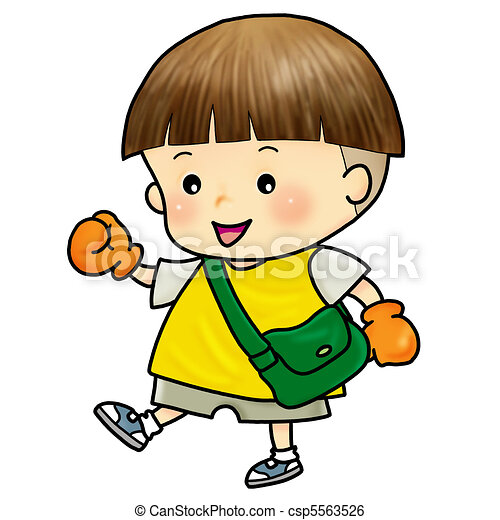 Stock Illustration of cute boy walking to school - Cartoon ...