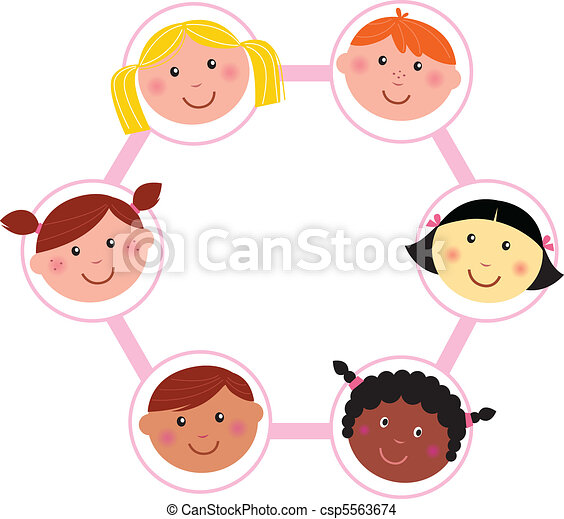 Multicultural kids head circle - csp5563674