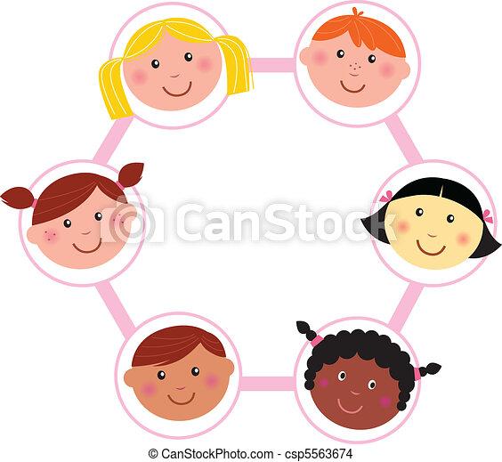 Multicultural kids head circle  - csp5563674