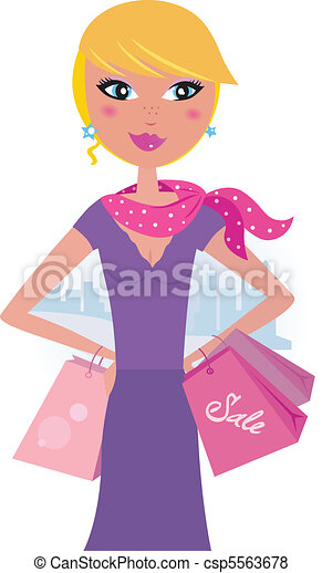 Happy blond woman on shopping - csp5563678
