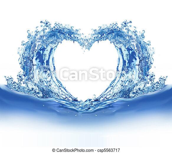 藍色, 水, 心 - csp5563717